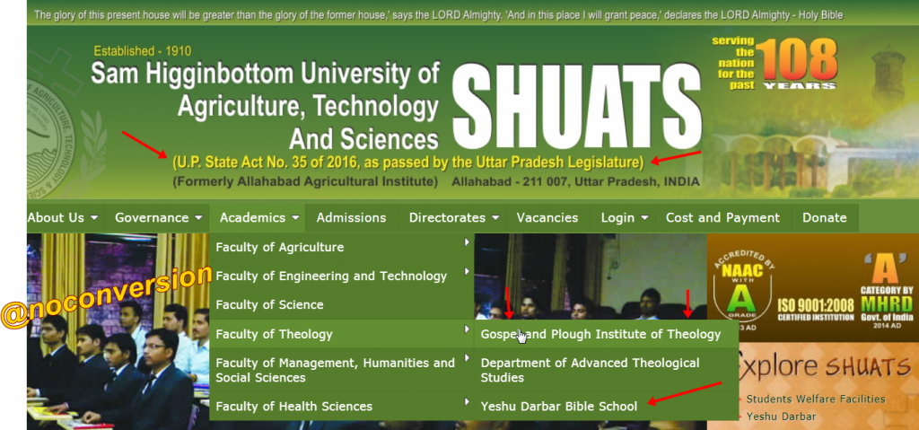 Technology University or Christian Bible School approved by UP Govt